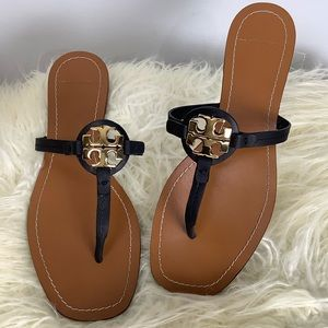 Tory Burch Metal Miller Black Gold Size 8